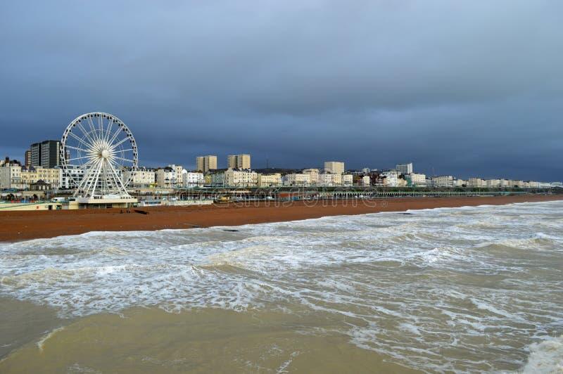 Brighton wybrzeże z plażowym i dużym ferris kołem fotografia royalty free