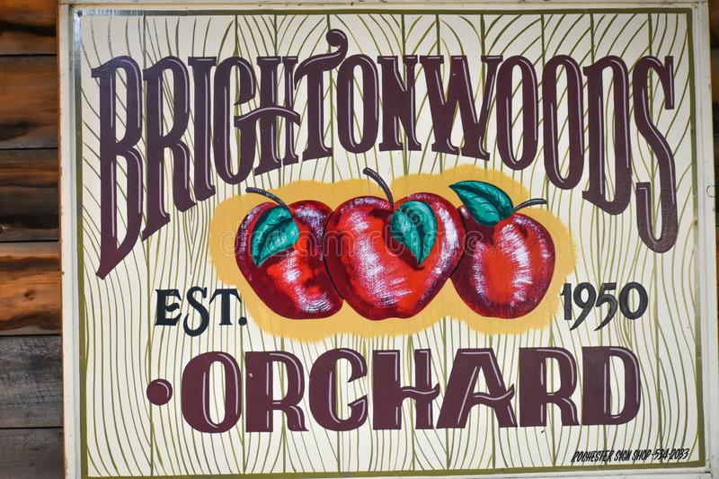 Brightonwoods Orchard Est. 1950 Sign. Brightonwoods Orchard Established 1950 sign.  This popular apple orchard is located at 1072 288th Avenue, Burlington stock images