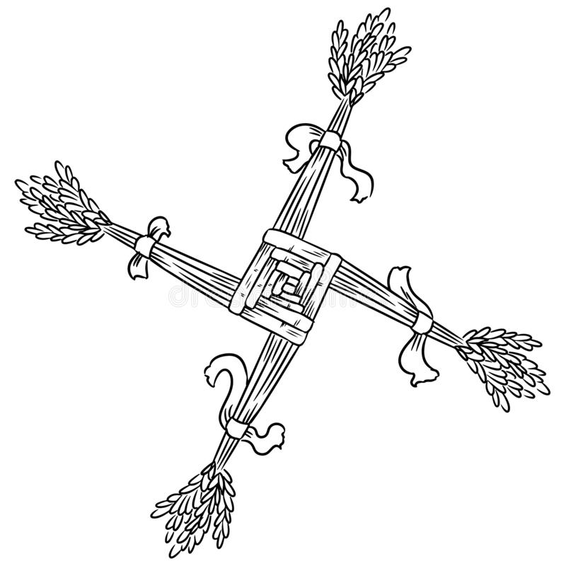 Brigid Cross fez da palha Símbolo esboçado pagão de Wiccan Elemento isolado ilustração royalty free