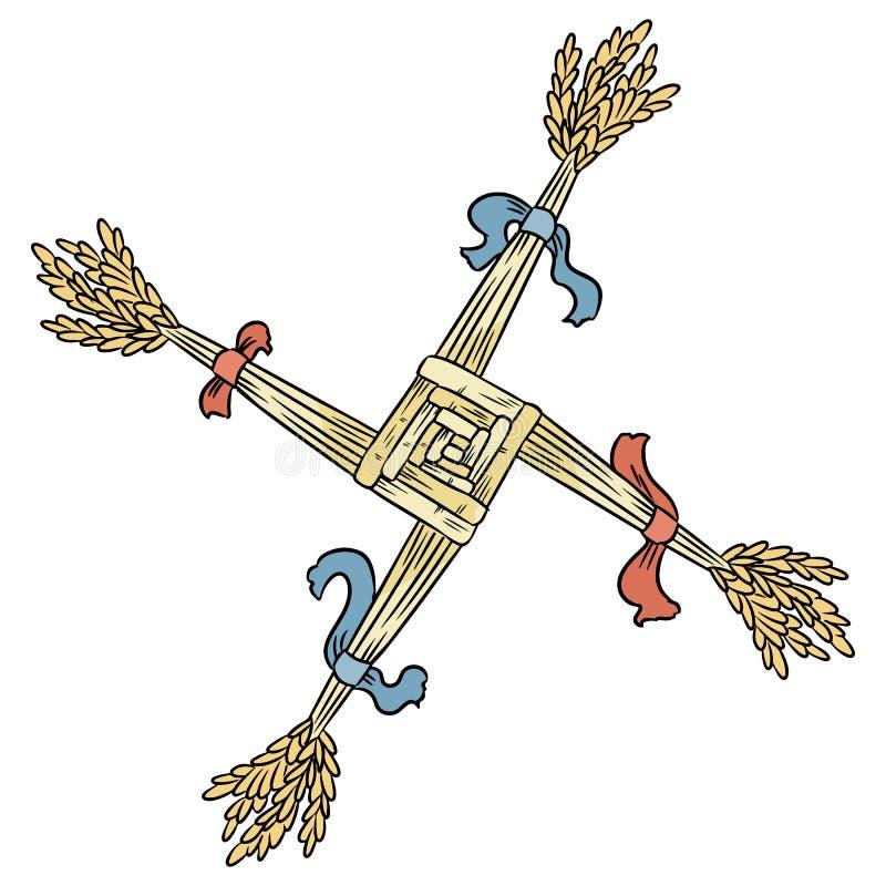 Brigid Cross gjorde av sugrör Wiccan Imbolc hedniskt symbol isolerad beståndsdel vektor illustrationer