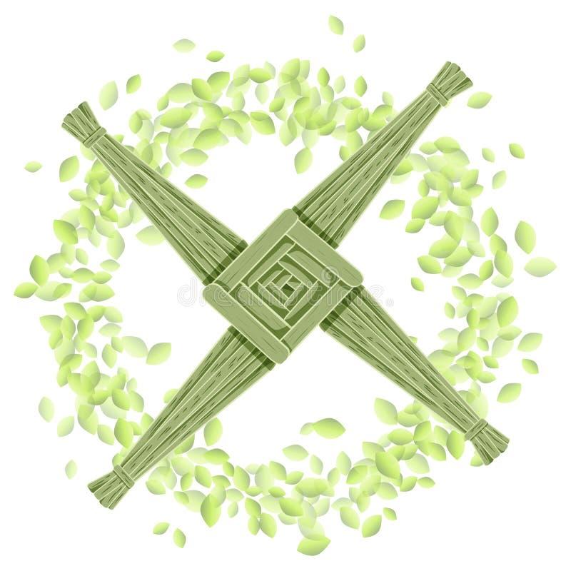 Brigid Cross i en krans av gr?na sidor Vykort f?r vektor f?r Imbolc hednisk feriemall royaltyfri illustrationer