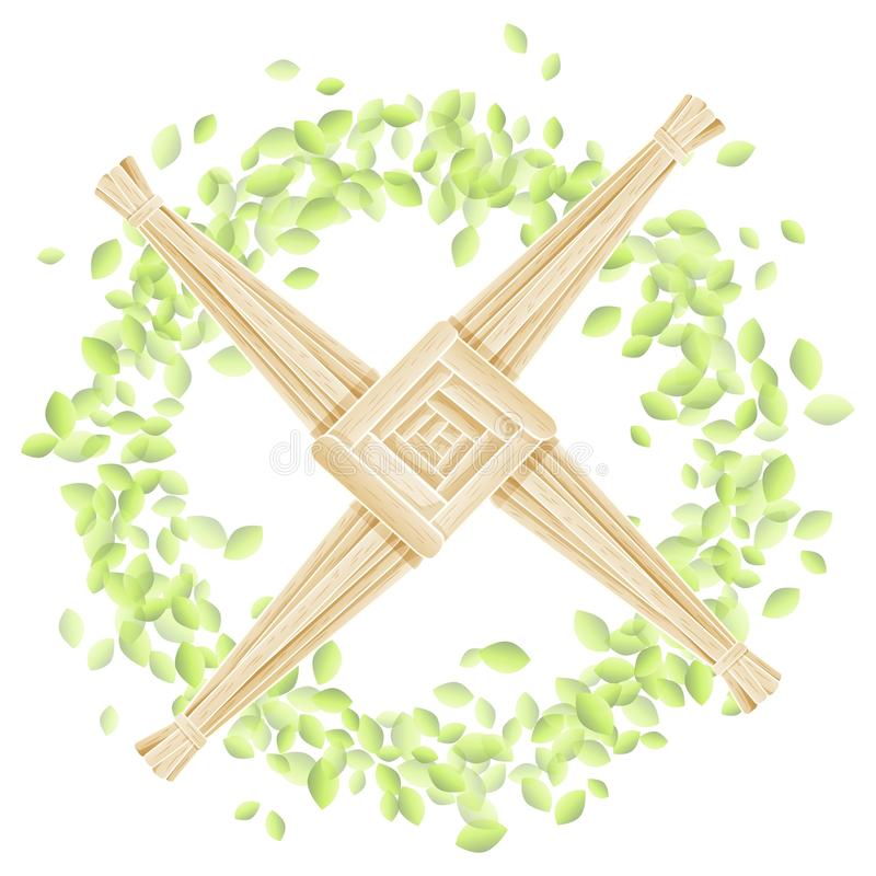 Brigid Cross i en krans av sidor Vykort f?r vektor f?r Imbolc hednisk feriemall royaltyfri illustrationer