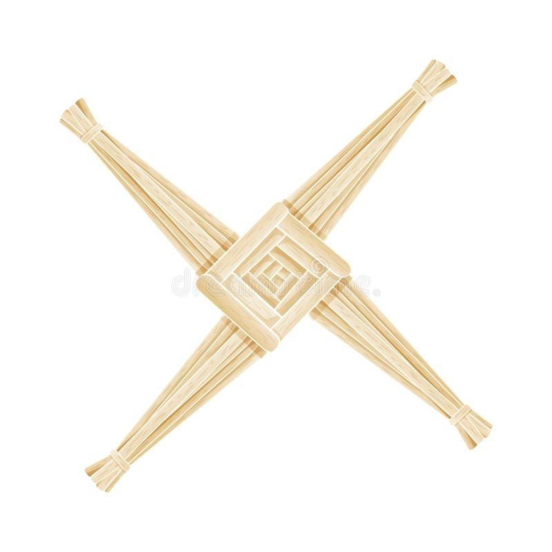 Brigid Cross machte vom Stroh Lokalisiertes Element Wiccan heidnisches Symbol lizenzfreie abbildung