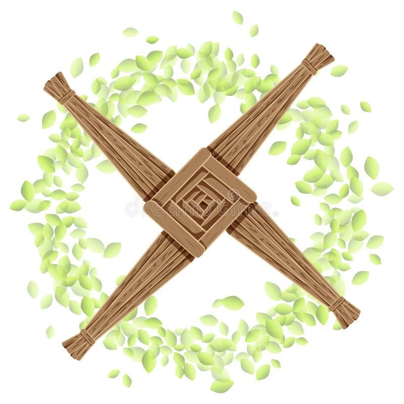 Brigids kors i en krans av sidor Vykort för vektor för Imbolc hednisk feriemall stock illustrationer