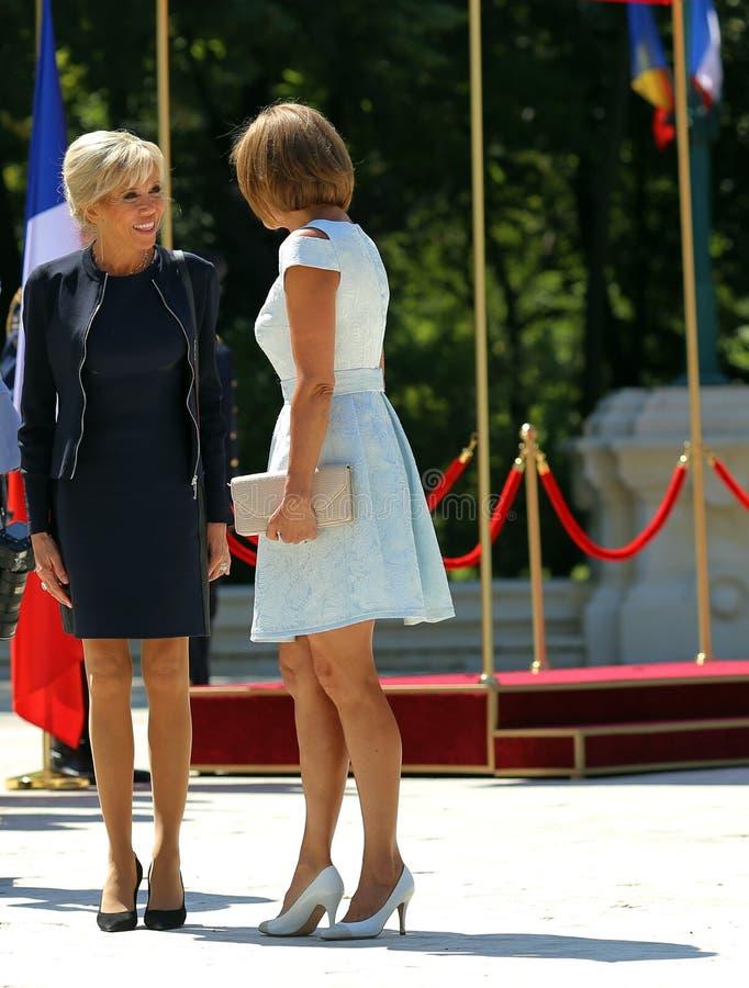 BRIGITTE MACRON AND CARMEN IOHANNIS. Brigitte Macron, left, and Carmen Iohannis during the official meeting between France President Emmanuel Macron, not royalty free stock photos