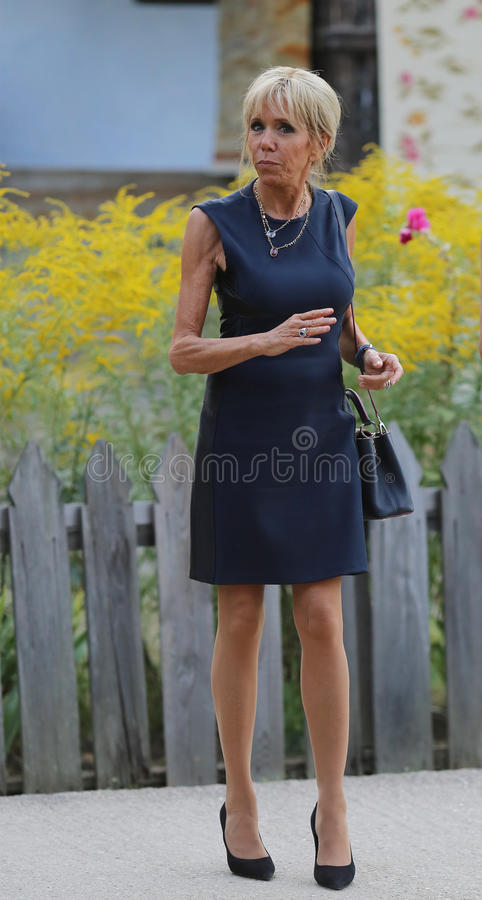 BRIGITTE MACRON. Pictured at Village Museum, during an official meeting with Emmanuel Macron, not pictured, in Bucharest, Romania, Thursday, August 24, 2017 royalty free stock photography