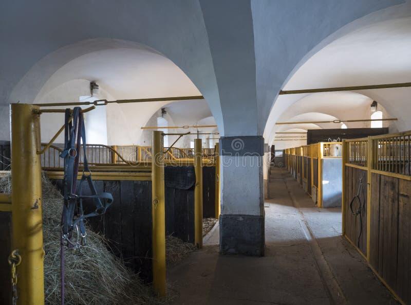 Briglia nera del cavallo che pende dalla stalla stabile vuota nella casa barrocco storica dell'azienda agricola, luce naturale de immagini stock libere da diritti