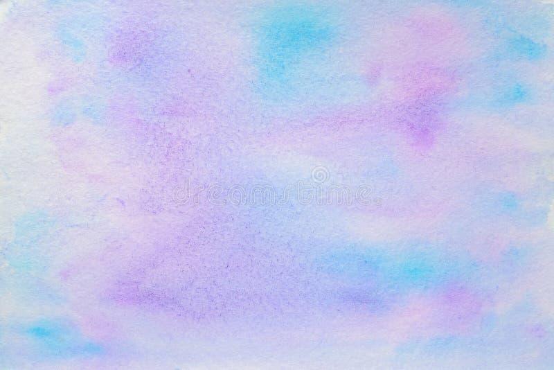 Brigt blå och purpurfärgad vattenfärgbakgrund arkivbilder