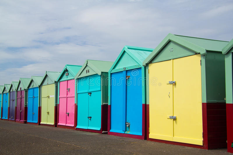 Brigton Beach Huts, England, United Kingdom. A row of beach huts in Brighton / Hove on the South coast of England royalty free stock photography