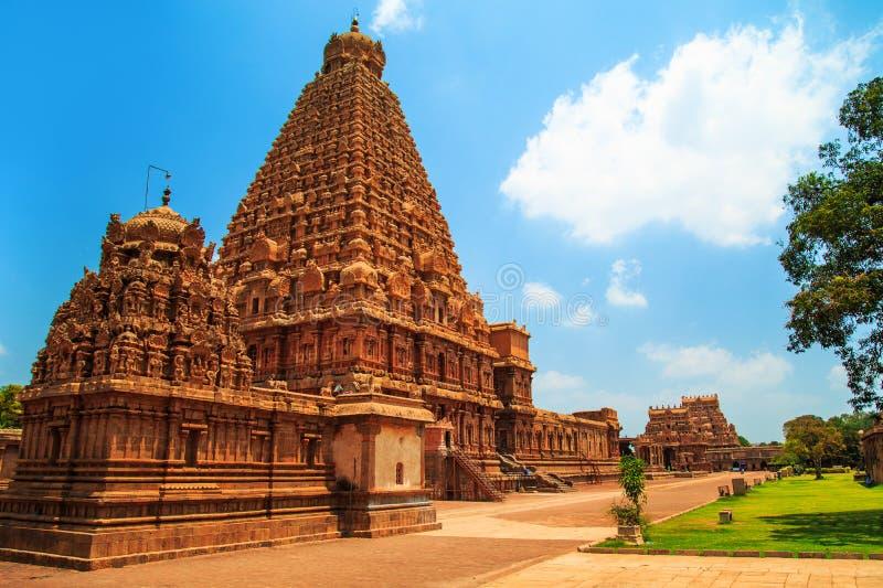 Brihadeeswara寺庙在坦贾武尔,泰米尔纳德邦,印度 免版税库存图片