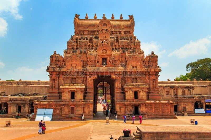 Brihadeeswara tempel i Thanjavur, Tamil Nadu, Indien royaltyfri foto