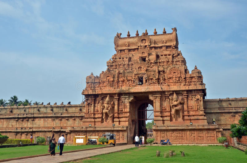 Brihadeeswara Temple Entrance II, Thanjavur stock photos