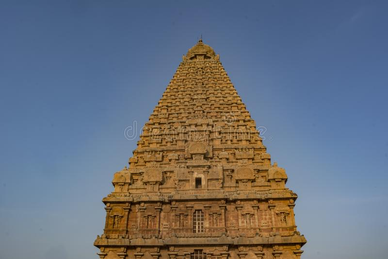 Mahashivratri 2019: Thanjavur Big Temple on Blue Sky background. Brihadishvara Temple or the Peruvudaiyar Koyil or the Big Temple is a Hindu temple dedicated to stock image