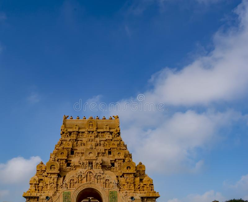 Thanjavur Big Temple Entrance Tower. Brihadishvara Temple or the Peruvudaiyar Koyil or the Big Temple is a Hindu temple dedicated to Lord Shiva and it is located royalty free stock photo