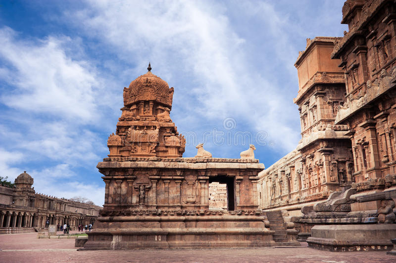 Brihadishvara Temple 12th century AD. South India, Tamil Nadu, Thanjavur (Trichy). Great South Indian architecture. Brihadishvara Temple 12th century AD over stock photos