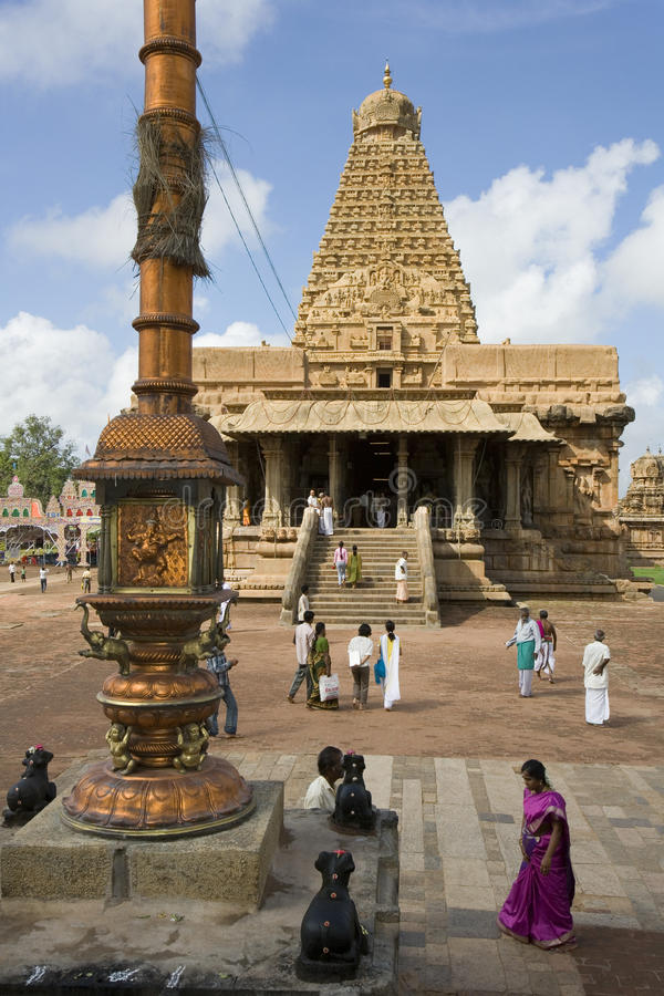 Brihadishvara Temple - Thanjavur - India. The Hindu Brihadishvara Temple in Thanjavur in the Tamil Nadu region of Southern India. It is a UNESCO World Heritage stock photo
