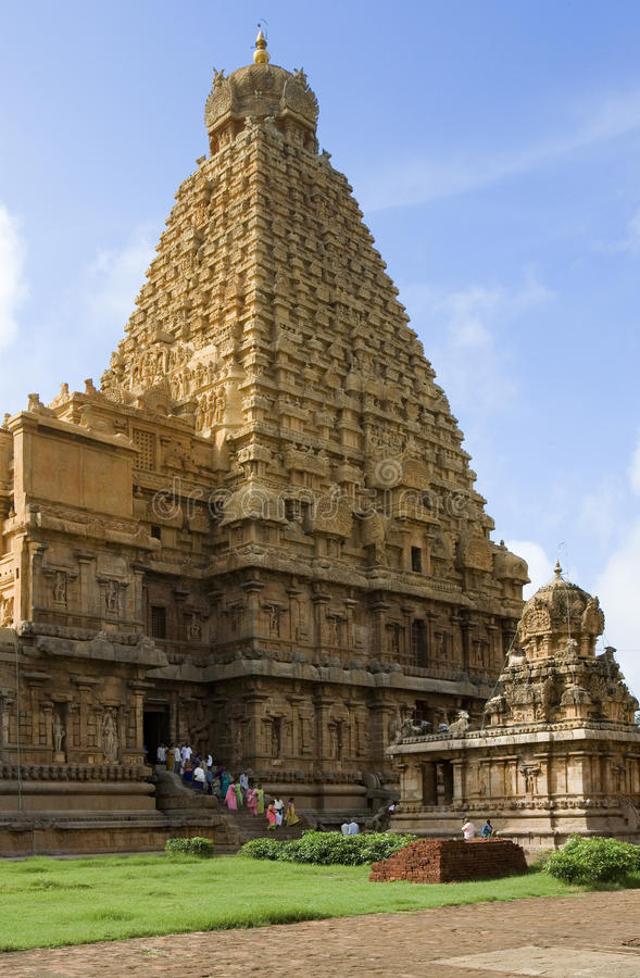 Brihadishvara Temple - Thanjavur - India. The Hindu Brihadishvara Temple in Thanjavur (Tanjore) in the Tamil Nadu region of southern India. It is a UNESCO World royalty free stock image