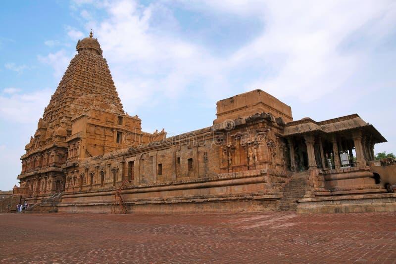 Brihadisvaratempel, Tanjore, Tamil Nadu Mening van Zuidoosten stock foto's