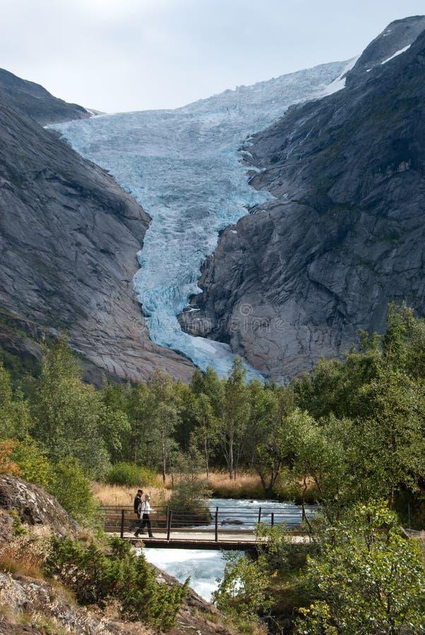 Briksdal glacier (Briksdalsbreen) in Norway stock photo