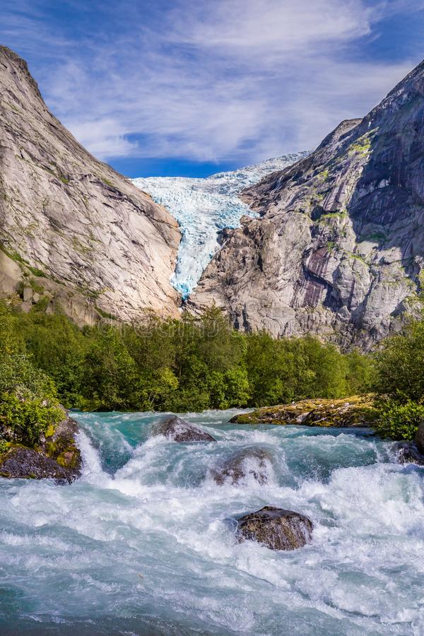 Briksdal glacier in Norway stock photography