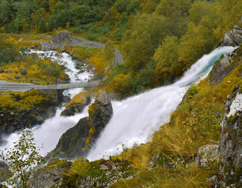 Briksdal Valley Waterfall River Norway royalty free stock images