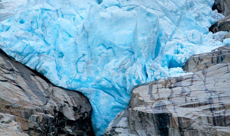 Briksdalsbreen冰川细节在挪威 免版税库存图片