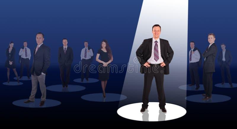 Brilhando um feixe na colagem do líder da companhia foto de stock royalty free