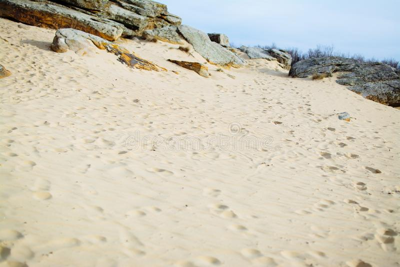Brilhante dourado da textura do fundo da areia fotos de stock royalty free