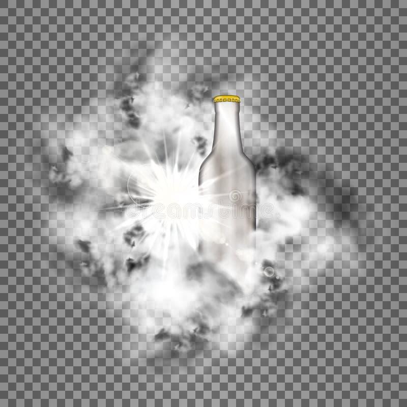 Brilhante e fumo com brilho transparente da garrafa ilustração royalty free