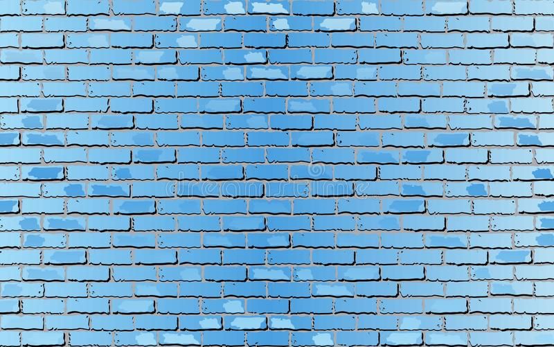 Brilhante ilumine - a parede de tijolo azul ilustração royalty free