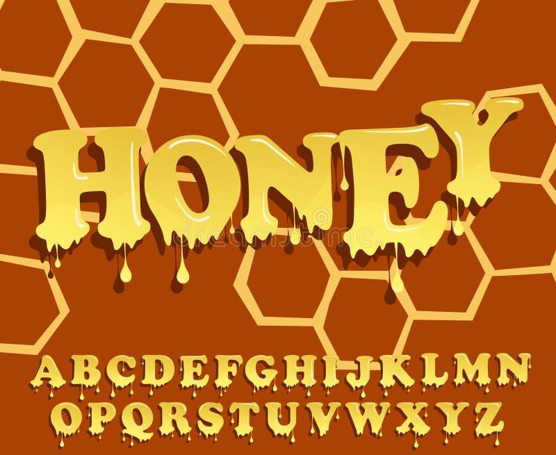 Brilhante, vitrificado, projeto do alfabeto do mel Fonte de derretimento Grupo do cabeçalho do vetor ilustração do vetor