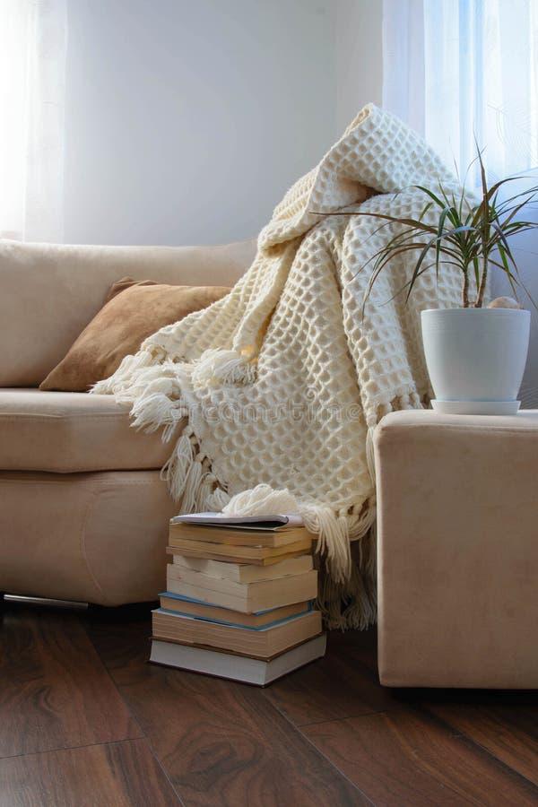 Brilhantemente interior à moda da sala de visitas Sofá confortável de convite com a cobertura de lã feito a mão, os livros e a pl imagens de stock royalty free