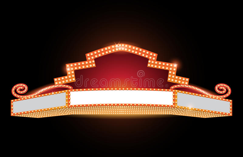 Brilhantemente sinal de néon de incandescência do cinema retro do teatro ilustração stock