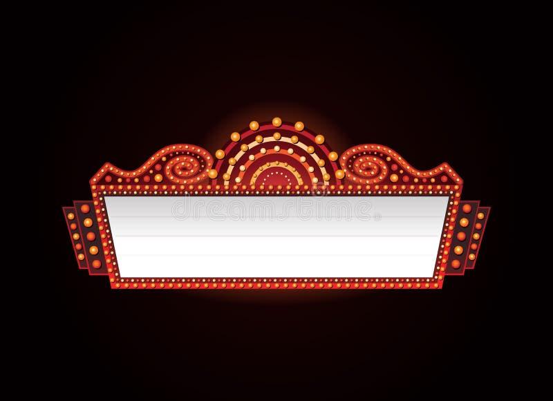 Brilhantemente sinal de néon de incandescência do cinema retro do teatro ilustração royalty free