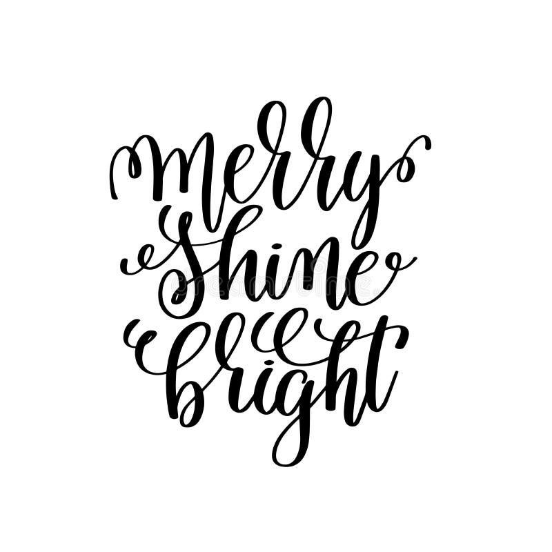 Brilho alegre brilhante - entregue a rotulação de citações positivas ao Natal ilustração royalty free