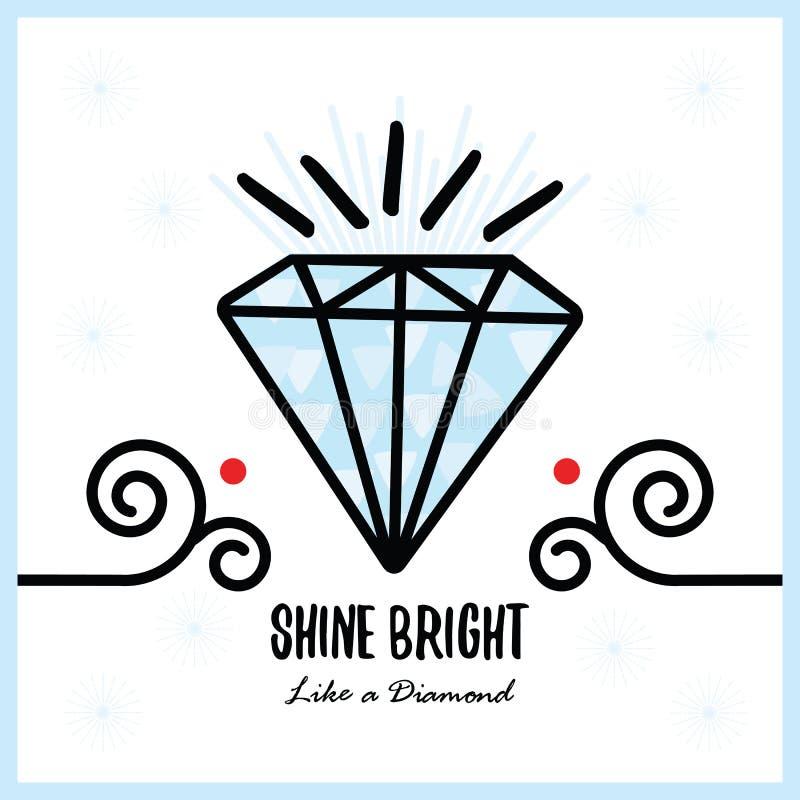 Brilho azul grande brilhante como uma pedra de gema de cristal brilhante do diamante ilustração royalty free