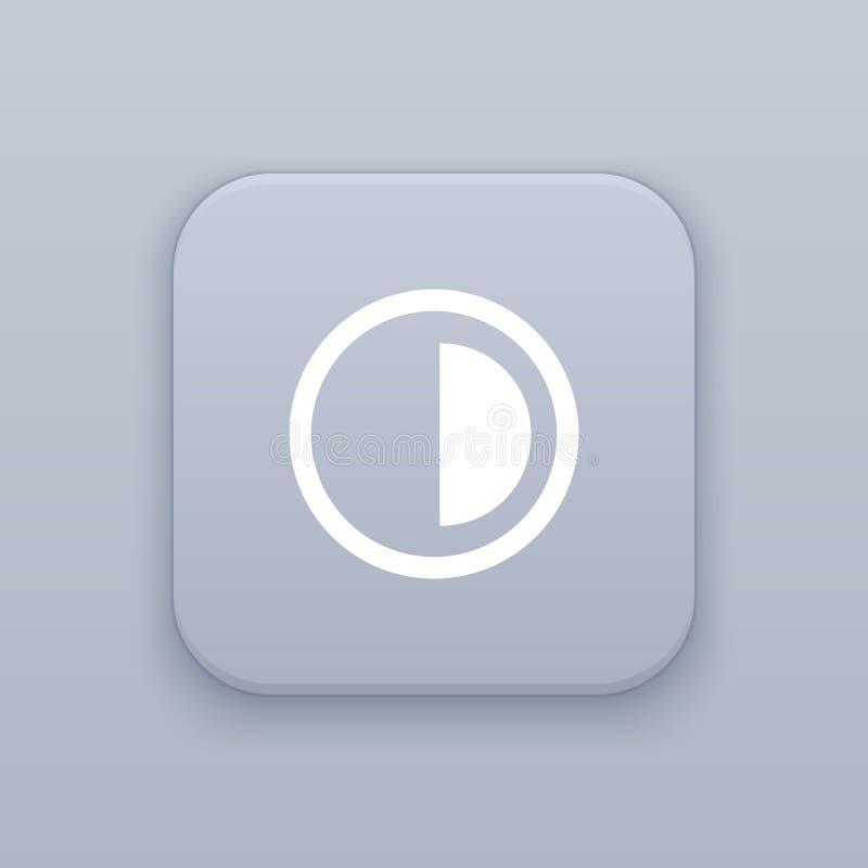 Brilho, botão cinzento do vetor do contraste com ícone branco ilustração royalty free