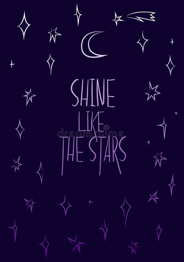 Brilho como as estrelas, cartaz da motivação ilustração do vetor