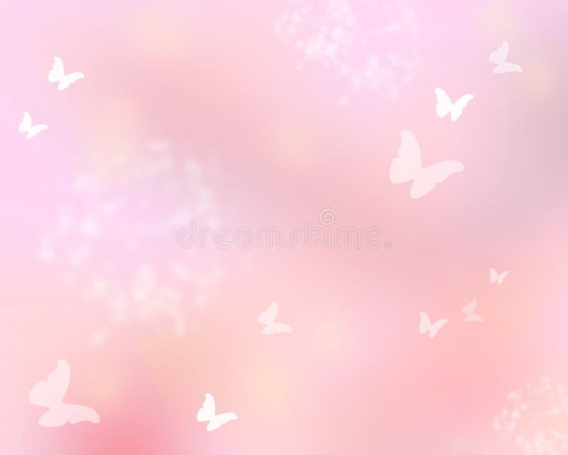 Brilho cor-de-rosa com borboletas ilustração do vetor