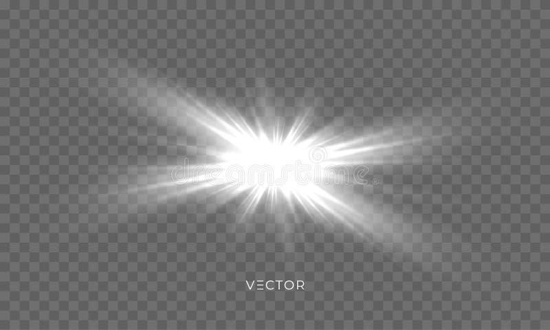 Brilho da estrela, faíscas do fulgor da luz do sol, sparkles brilhantes do vetor com efeito do alargamento da lente Flash isolado ilustração do vetor
