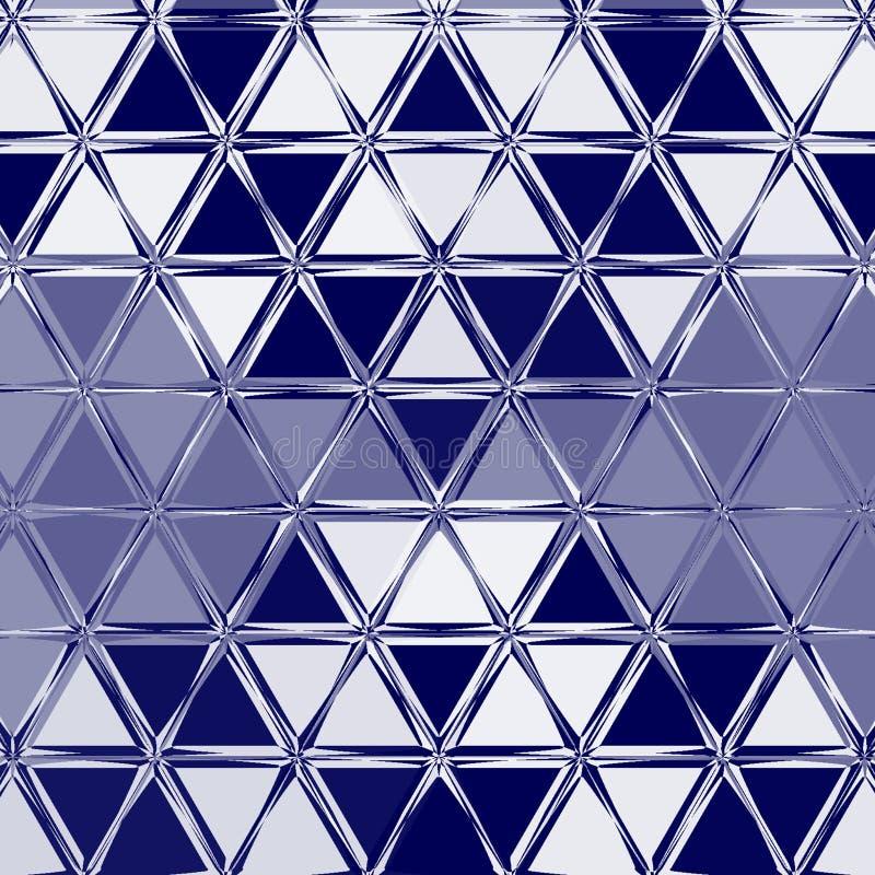 Brilho da geometria do fundo dos azuis marinhos e elemento abstratos do triângulo, no porto azul e no branco ilustração stock
