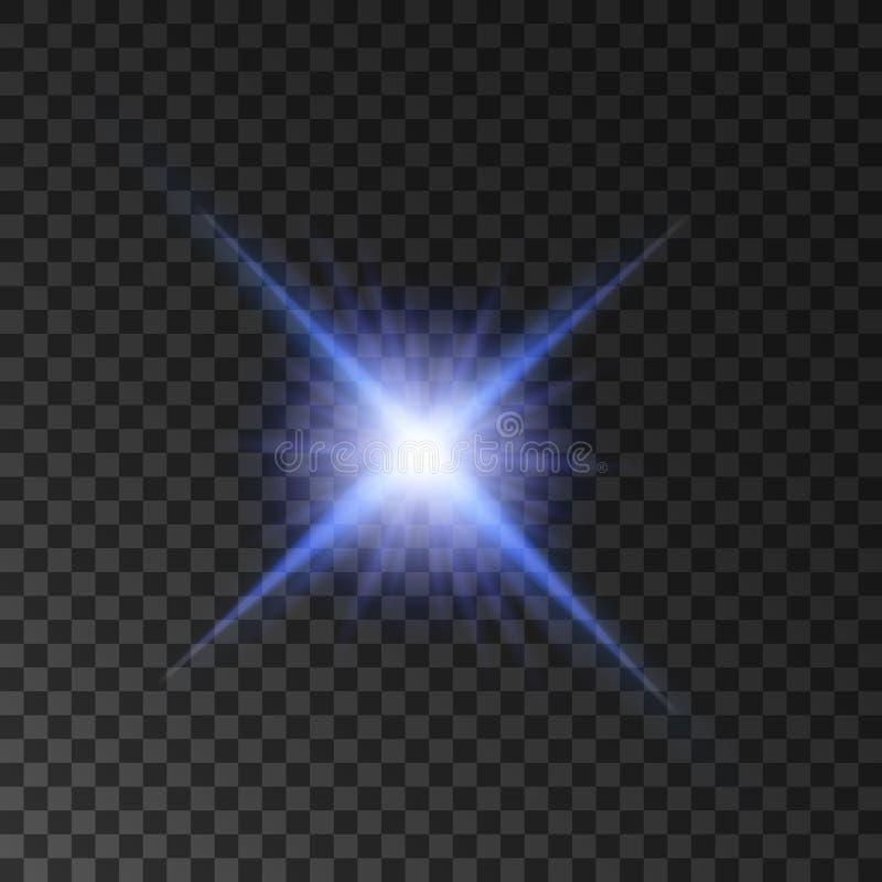 Brilho da luz da estrela Feixes de brilho do projetor ilustração stock