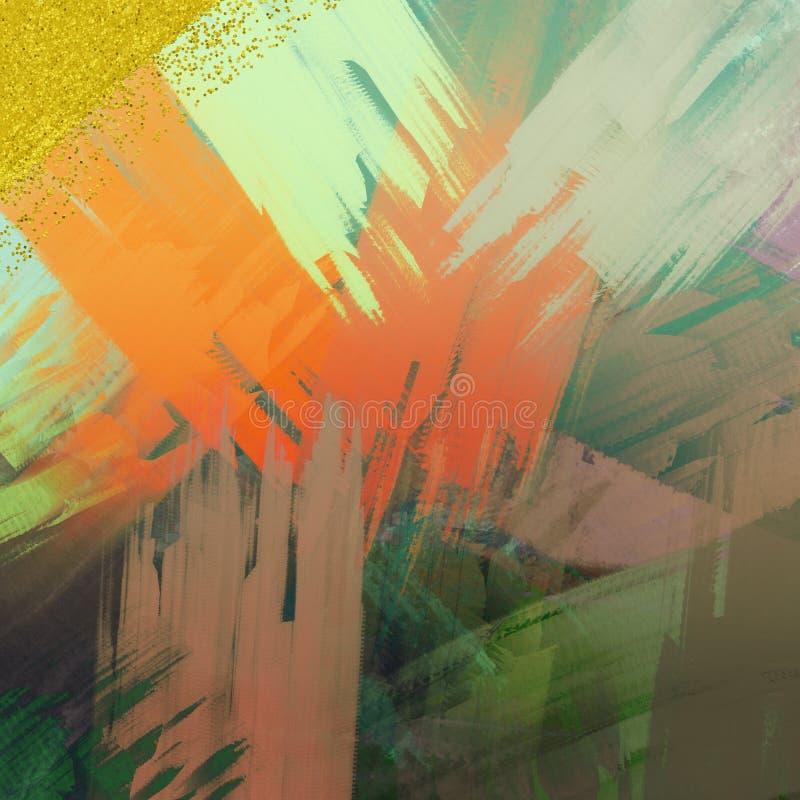 Brilho dispersado no fundo Fundo de pintura matizado da lona Projeto temático da decoração Os cursos da escova pintaram a superfí ilustração do vetor