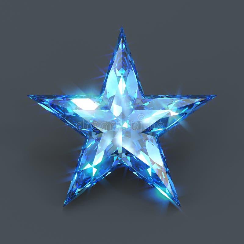 Brilho do azul da safira da forma da estrela ilustração do vetor
