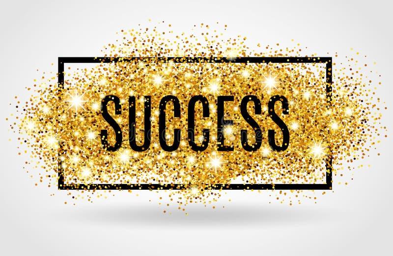 Brilho do ouro do sucesso no fundo branco ilustração stock