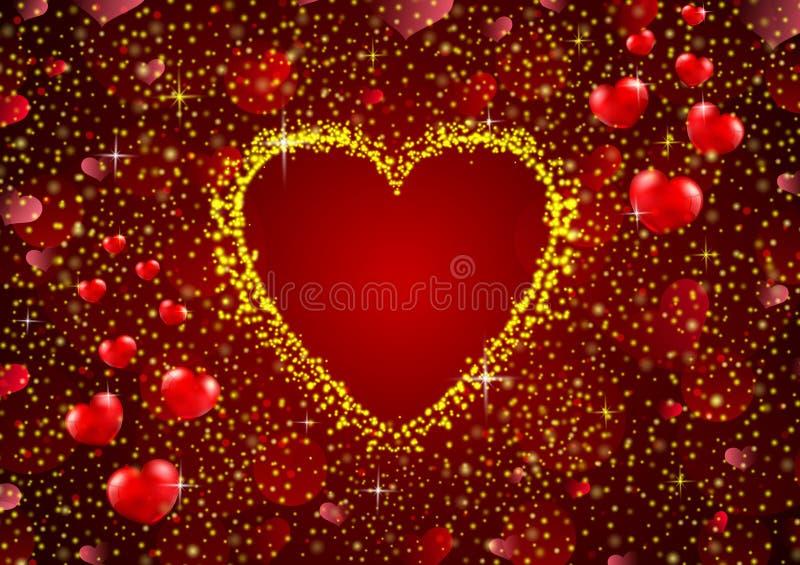 Brilho do ouro um fundo do conceito do coração ilustração royalty free