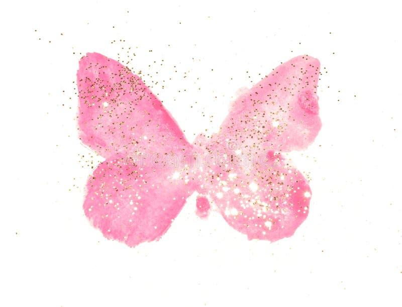 Brilho dourado na borboleta cor-de-rosa da aquarela em cores nostálgicas do vintage no fundo branco ilustração royalty free