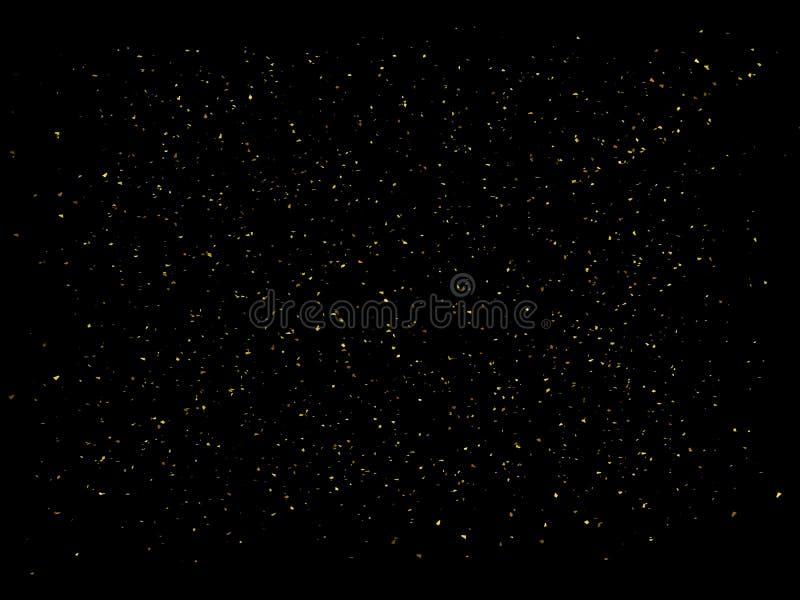 Brilho dourado no fundo preto O ouro sparkles contexto Ilustração dourada da explosão 3D ilustração stock
