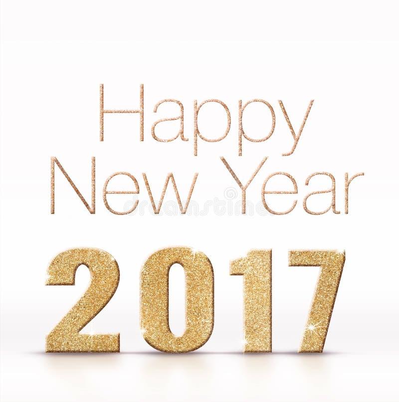 Brilho efervescente dourado do ano novo feliz 2017 no roo branco do estúdio foto de stock