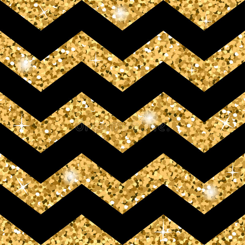 Brilho sem emenda do ouro do teste padrão do ziguezague e molde preto ilustração stock